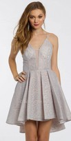 Camille La Vie Lace Illusion High-Low Prom Dress