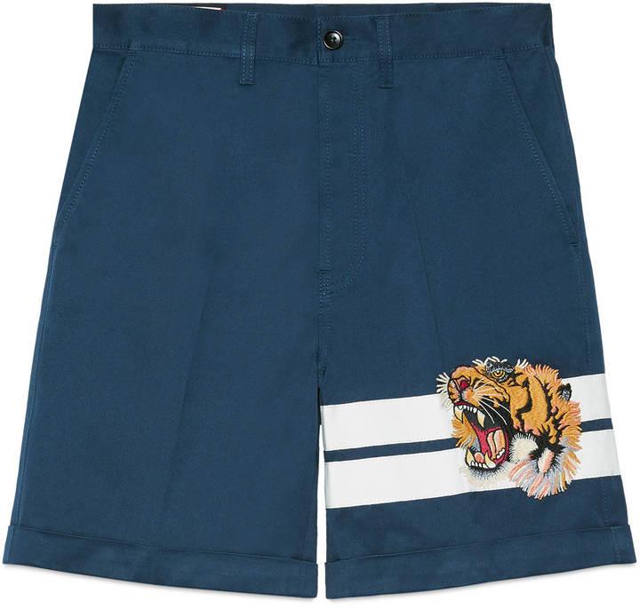 Gucci Gabardine short with tiger