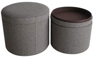 Alcott Hill Friedman Canvas Round Storage Ottoman Alcott Hill Upholstery Color: Gray