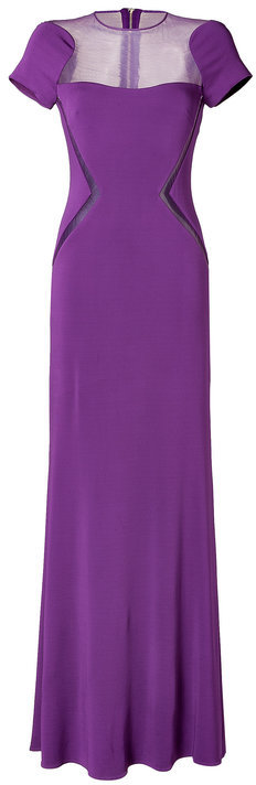 Elie Saab Sheer Panel Gown in Royal Purple