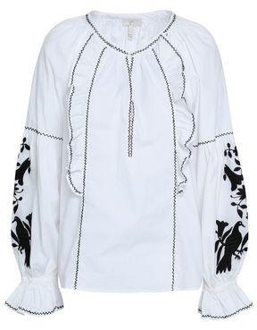 Joie Cleavanta Embroidered Cotton-poplin Blouse