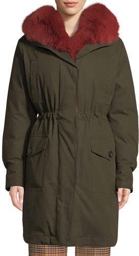 Moncler Hypolais Trench Coat w/ Fur Lining