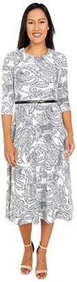 Calvin Klein Belted Paisley Print A-Line Dress (Cream/Black) Women's Dress