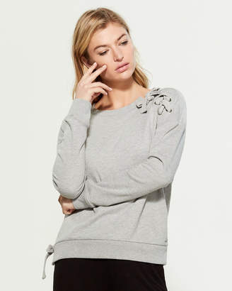 Andrew Marc Lace-Up Detail Sweatshirt