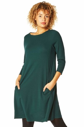 Roman Originals Women A-Line Pocket Detail Swing Dress - Ladies 3/4 Sleeve Casual Longline Tunic Fit and Flare Workwear Daywear Front Pocket Knitted Jersey Dress - Black - Size 10