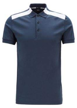 Slim-fit polo shirt with contrast shoulder inserts