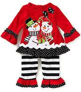 Rare Editions Baby Girls 3-24 Months Christmas Snowmen-Appliqued Dress & Wide-Stripe Leggings Set