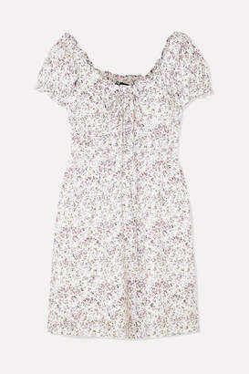 J.Crew Shirred Floral-print Voile Mini Dress - Ivory
