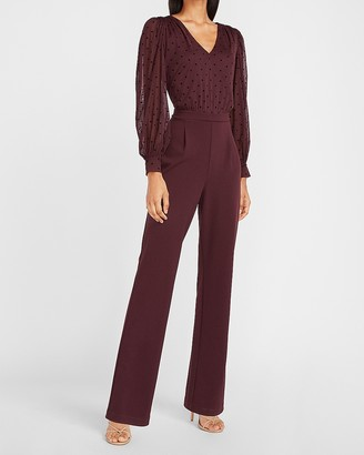 Express Polka Dot Puff Sleeve Jumpsuit