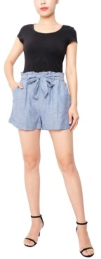 Derek Heart Juniors' Paperbag-Waist Shorts