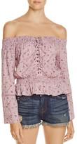 En Creme Floral Off-The-Shoulder Lace-Up Top - 100% Exclusive