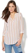 New York & Co. Soho Soft Shirt - Split-Neck Popover Blouse - Stripe