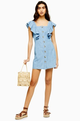 Topshop Womens Ruffle Sleeve Horn Button Mini Dress - Mid Stone