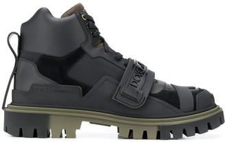 Dolce & Gabbana logo strap trekking boots