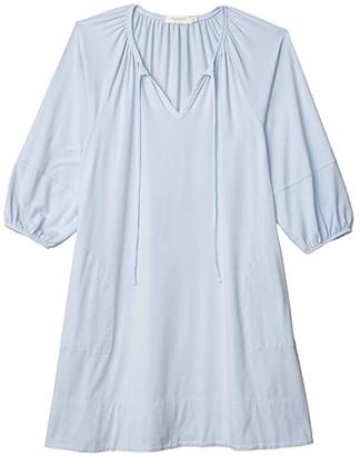 Mod-o-doc Cotton Modal Spandex Jersey Tie Front Swingy Peasant Dress (Cactus) Women's Clothing