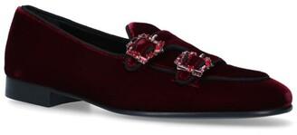Edhen Milano Velvet Crystal-Embellished Hex Brera Loafers