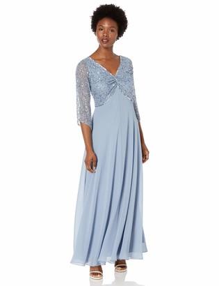 J Kara Women's Petite 3/4 Sleeve V-Neck Beaded Top Long Gown