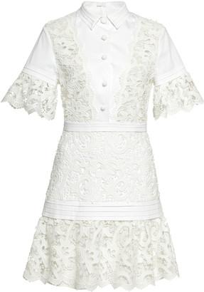 Alexis Liberty Guipure-Lace-Paneled Mini Dress