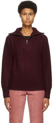 Etoile Isabel Marant Burgundy Wool Fancy Half-Zip Sweater