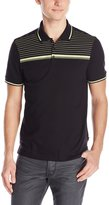 Calvin Klein Men's Short Sleeve 3 Button Jersey Engineered Stripe Polo