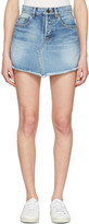 Saint Laurent Blue Denim Trapeze Miniskirt