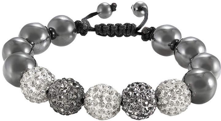a807e352c2db6 FINE JEWELRY Mens Hematite & Two-Tone Crystal Bead Bracelet
