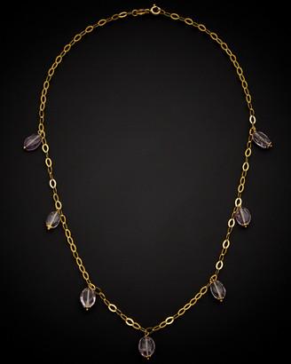 Italian Gold 14K Amethyst Drop Necklace