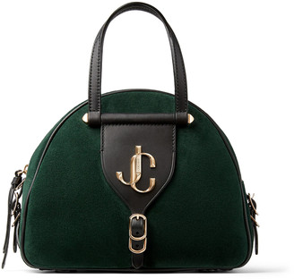 Jimmy Choo VARENNE BOWLING/S Dark Green Suede and Black Vacchetta Leather Bowling Bag with JC logo