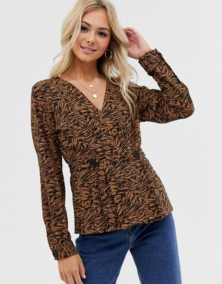 Pieces printed crossover blouse-Brown