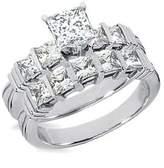 JeenJewels 1.00 Carat Diamond Wedding Set Princess Cut Diamond on 10K White gold
