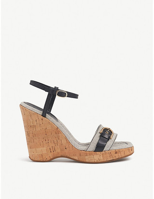 LK Bennett Sky leather, canvas and cork wedge sandals