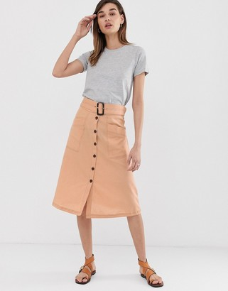 Asos DESIGN button front midi skirt with tortoise shell belt and contrast stitching