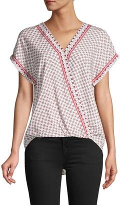 Max Studio Printed Short-Sleeve Top