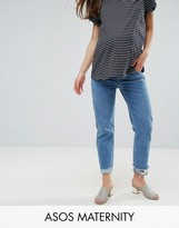 Asos FLORENCE Authentic Straight Leg Jean In Mid Blue With Stepped Waistband And Raw Hem