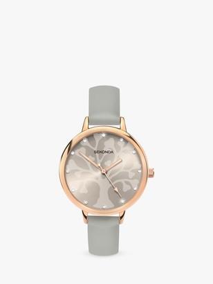 Sekonda 2649.27 Women's Crystal Leather Look Strap Watch, Grey