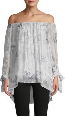 Le Marais Off-The-Shoulder Floral Silk Top