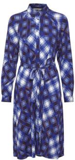 Gestuz Blue Check Viscose Luanne Shirt Dress - blue | viscose | 40 - Blue/Blue