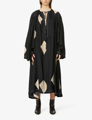 UMA WANG Arlene abstract-pattern satin maxi shift dress