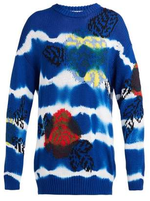MSGM Floral Jacquard Tie Dye Cotton Sweater - Womens - Blue Navy