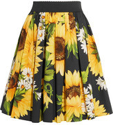 Dolce & Gabbana Printed Cotton-poplin Skirt - Yellow