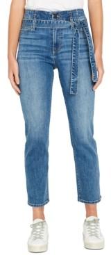 Buffalo David Bitton High-Rise Belted Straight-Leg Jeans