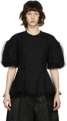 Simone Rocha Black Tulle Overlay Sculpted T-Shirt