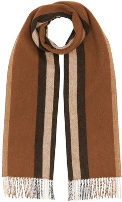 Burberry Reversible Icon Stripe Cashmere Scarf