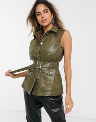 Asos Design DESIGN denim metallic coated gillet in khaki-Green