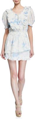 LoveShackFancy Sutton Button-Front Ruffle Dress