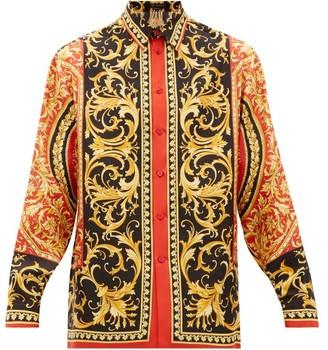 Versace Acanthus-leaf Print Silk-faille Shirt - Red Multi