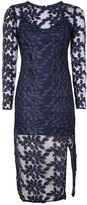 Topshop Long Sleeve Leaf Applique Midi Dress