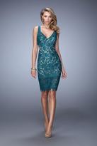 La Femme 21815 Lace V-neck Cocktail Dress