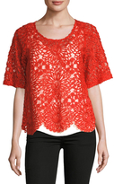 Plenty by Tracy Reese Tulle Lace Embroidered Top
