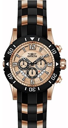 Invicta Men's 23708 Pro Diver Rose Gold Dial Steel and Polyurethane Strap Chronograph Dive Watch